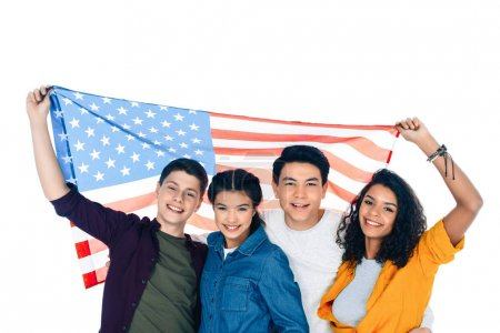 group of happy teen students with usa flag isolated on white