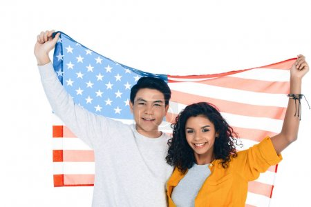teenage students with american flag behind back isolated on white