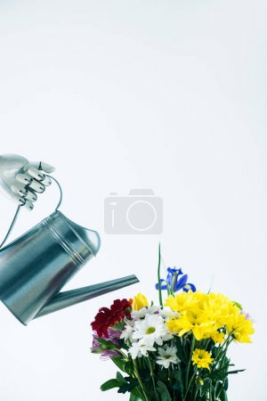 hand of robot holding watering can and beautiful blooming flowers isolated on white