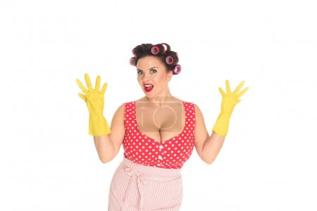shocked plus size woman in rubber gloves isolated on white