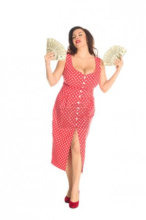 satisfied beautiful plus size woman with lot of cash isolated on white