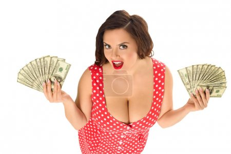 high angle view of happy plus size woman with lot of cash isolated on white