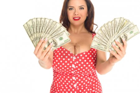 beautiful plus size woman with lot of cash isolated on white