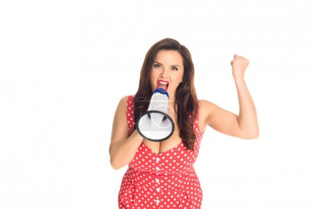 Photo for Angry plus size woman shouting at loudspeaker and looking at camera isolated on white - Royalty Free Image