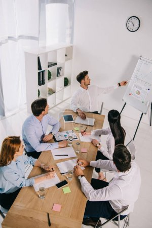 high angle view of business colleagues having business training in office