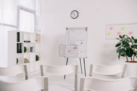 white empty chairs and white board with graphic in office, business training concept
