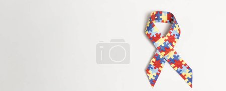 Photo for Panoramic shot of symbol of dyslexia on grey background - Royalty Free Image
