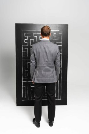 back view of businessman in suit looking at labyrinth