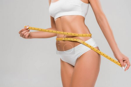 Photo for Partial view of beautiful slim woman in underwear holding measuring tape on waist isolated on grey - Royalty Free Image