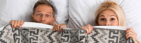 Photo for Panoramic shot of mature couple covering with blanket and looking at camera - Royalty Free Image