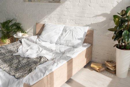 Schlafzimmerinnenraum mit Pflanzen und Sonnenlicht