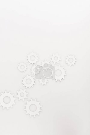 Photo for Top view of round gears isolated on white - Royalty Free Image