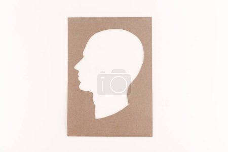 top view of human head silhouette isolated on white