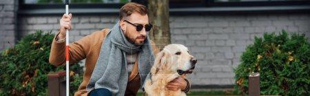 Panoramic shot of blind man hugging guide dog on street