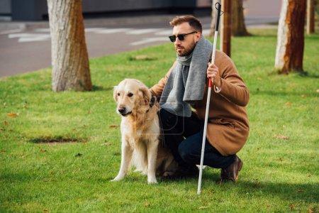 Photo pour Homme aveugle avec canne de marche et chien-guide sur la pelouse - image libre de droit