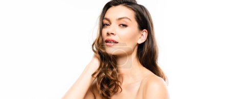 Photo pour Photo panoramique de brune brune sensuelle à la peau parfaite, isolée sur blanc - image libre de droit