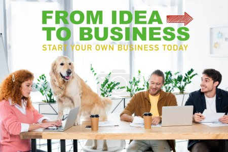 Photo pour Three friends smiling and doing paperwork, golden retriever sitting on table in office with from idea to business illustration, startup concept - image libre de droit