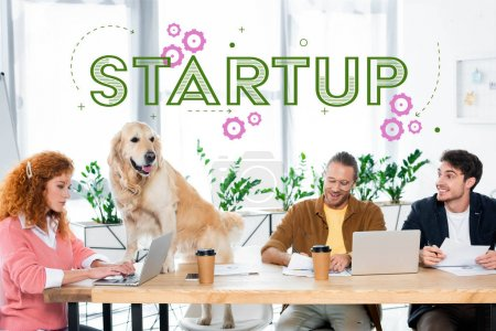 Photo for Three friends smiling and doing paperwork, golden retriever sitting on table in office with startup illustration - Royalty Free Image