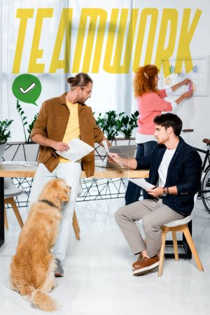 Photo for Handsome friends doing paperwork and golden retriever sitting in office with teamwork illustration - Royalty Free Image