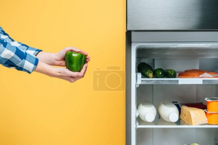 Photo pour Cropped view of woman holding bell pepper near open fridge with fresh food on shelves isolated on yellow - image libre de droit