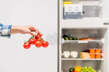 Photo for Cropped view of woman holding tomatoes near open fridge with fresh food on shelves isolated on white - Royalty Free Image