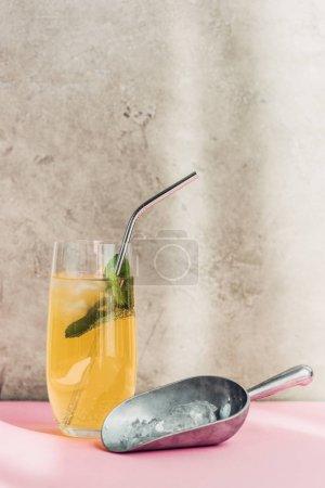 Photo pour Limonade fraîche avec glace, menthe, paille près de la motte de glace au soleil - image libre de droit