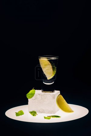 Photo for Fresh tequila with lime and mint on ice cube on illuminated circle isolated on black - Royalty Free Image