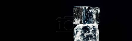 Photo for Close up view of square ice cubes isolated on black, panoramic shot - Royalty Free Image