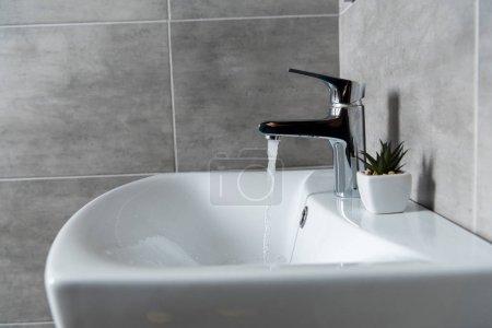 Photo pour Écoulement de l'eau du lavabo au lavabo en céramique avec l'usine dans la toilette moderne - image libre de droit