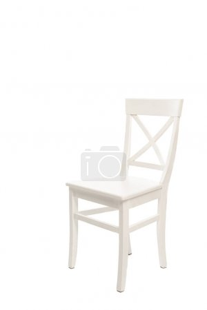 Comfortable white wooden chair isolated on white