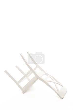 Photo for Inverted white wooden chair isolated on white - Royalty Free Image