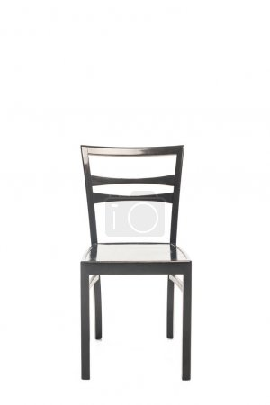 Black wooden chair with copy space isolated on white
