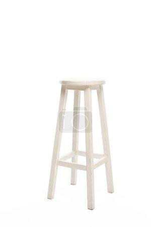 Modern white wooden stool isolated on white