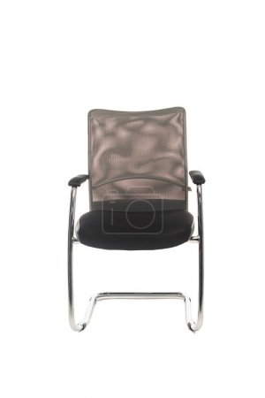 Modern black chair with copy space isolated on white