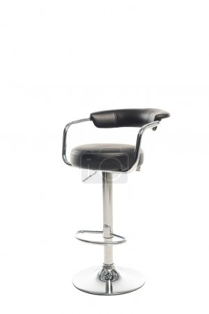 Black bar stool with copy space isolated on white