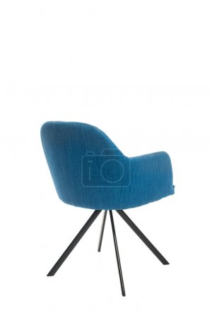 Modern blue armchair with copy space isolated on white