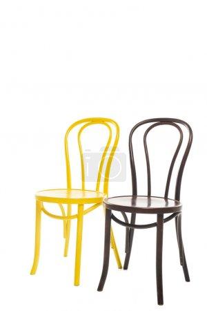 Photo pour Deux confortables chaises en bois isolées sur blanc - image libre de droit
