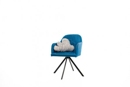 Photo for Trendy blue armchair with pillow isolated on white - Royalty Free Image