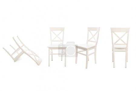 Photo for White wooden chairs isolated on white - Royalty Free Image