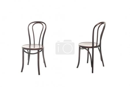 Photo for Brown wooden chairs isolated on white - Royalty Free Image