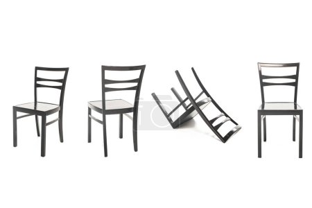 Photo pour Chaises modernes en bois noir isolé sur blanc - image libre de droit