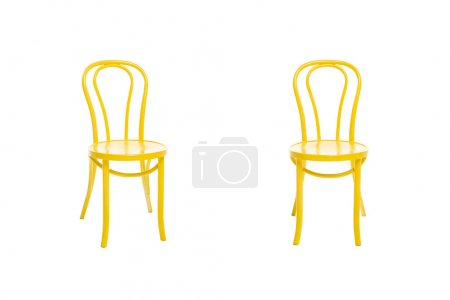 Photo for Modern yellow chairs isolated on white - Royalty Free Image