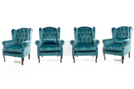 Photo for Trendy turquoise armchairs on white background - Royalty Free Image