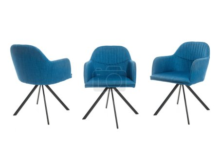 Photo for Blue stylish armchairs isolated on white - Royalty Free Image