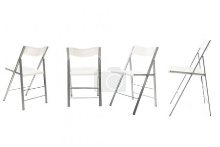 Modern chairs with white seats isolated on white