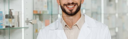 Cropped view of pharmacist smiling at camera in apothecary, panoramic shot