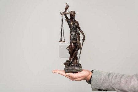 Photo pour Vue partielle d'un avocat tenant sa statue isolée sur le gris - image libre de droit
