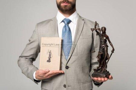 Photo pour Crochet vue d'un avocat tenant la statue et le livre avec le titre de la loi sur le droit d'auteur isolés sur gris - image libre de droit