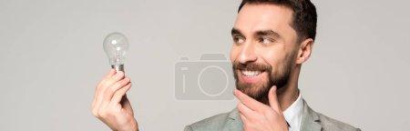 Foto de Foto panorámica de un hombre de negocios sonriente tocando cara mientras se mantiene la bombilla aislada sobre gris. - Imagen libre de derechos