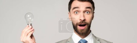 Photo for Panoramic shot of excited businessman holding light bulb and looking at camera isolated on grey - Royalty Free Image